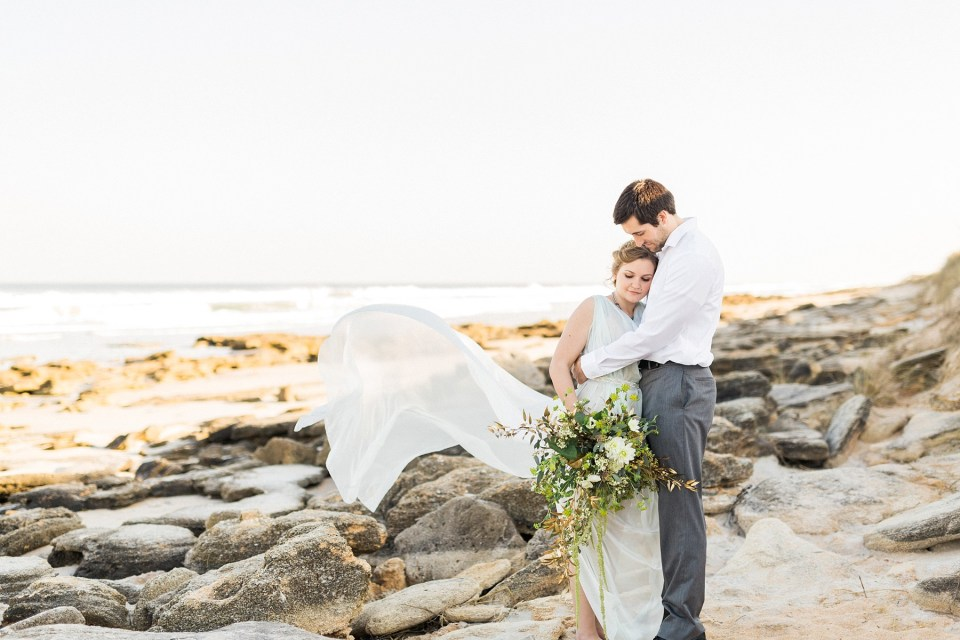 Bride and Groom | Seafoam Wedding Dress | Mermaid Inspired Beside the Sea Wedding Shoot | www.bricibene.com