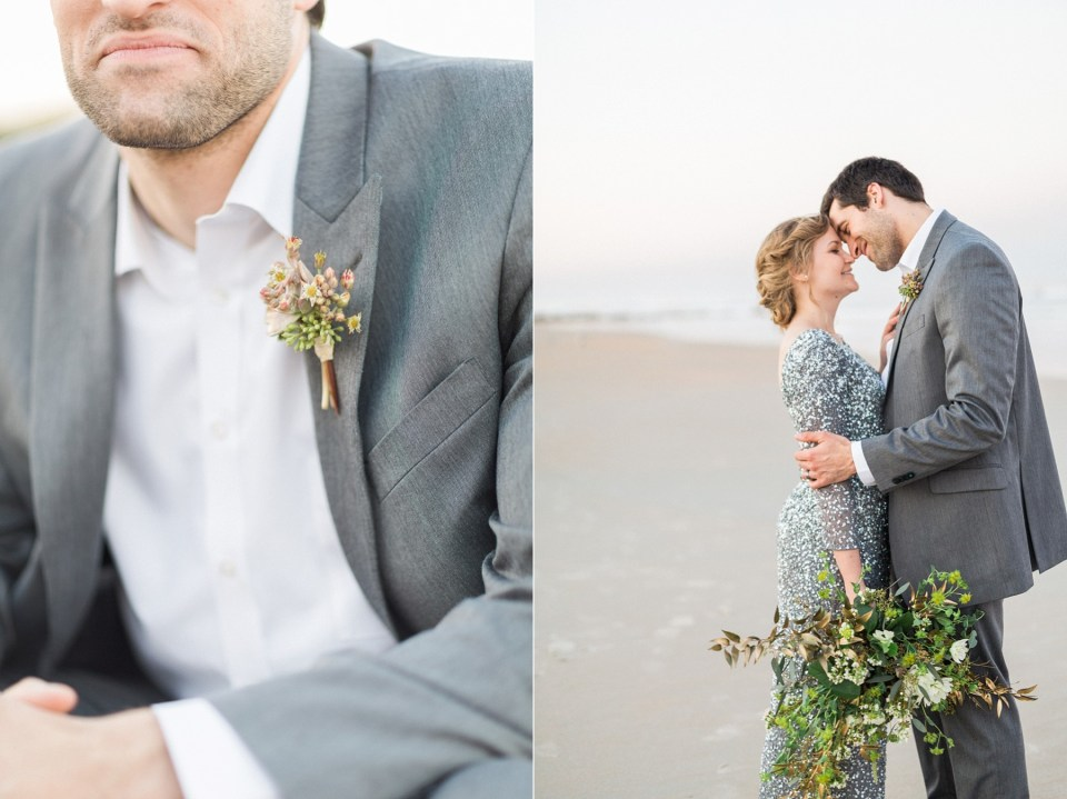 Bride and Groom | Adrianna Papell wedding dress | Mermaid Inspired Beside the Sea Wedding Shoot | www.bricibene.com
