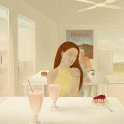 Disegno con donna che guarda una fetta di torta