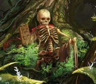 scheletro-ai-piedi-di-un-albero