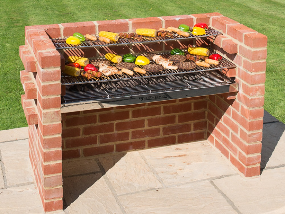 bkb801 extra large 100 stainless steel brick barbecue kit with stainless steel warming rack