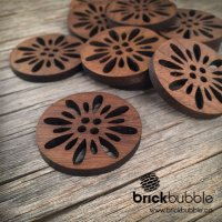 Open Floral — Walnut Button