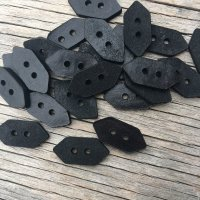 Black Leather geometric buttons