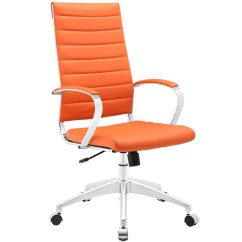 Office Chair Orange Handmade Wood Instant Operator High Back Brickell Collection