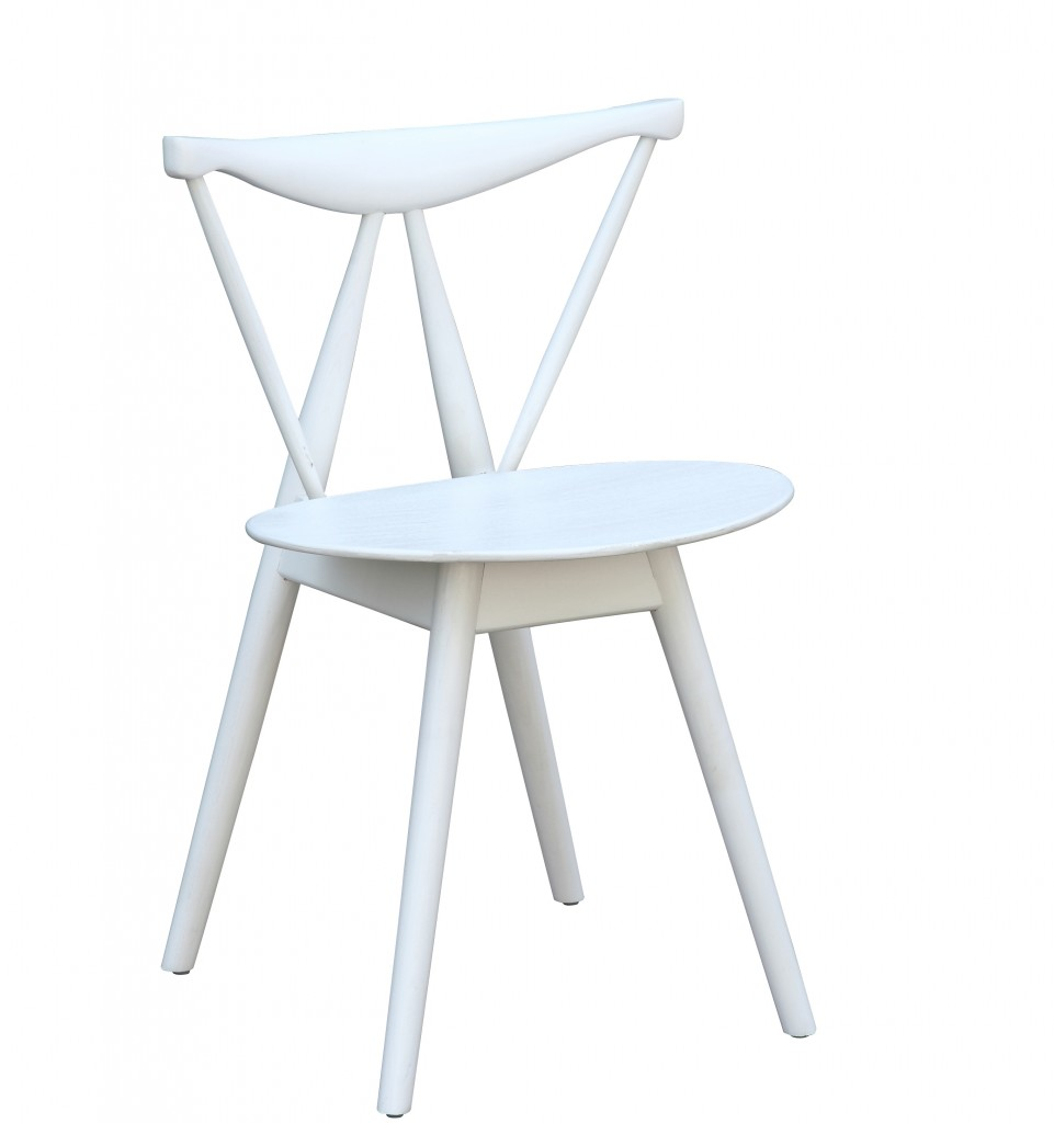 White Wooden Dining Chairs Triangle Chair