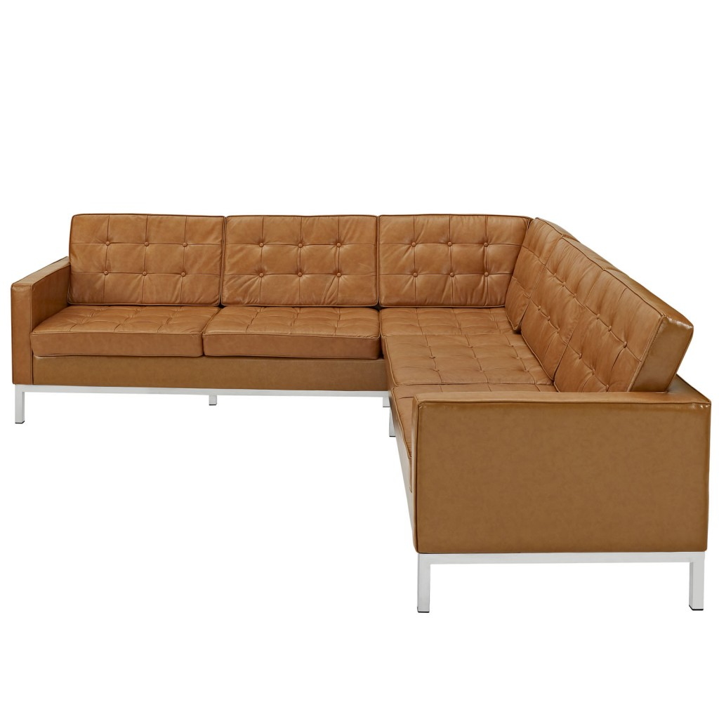 Bateman Leather L Shaped Sectional Sofa  Modern Furniture  Brickell Collection