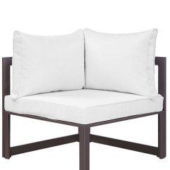 White Cushion Chair Fisher Price Rainforest High Star Island Outdoor Corner Modern Furniture Brickell Brown 3