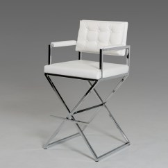 Directors Chair Bar Stool Outdoor Cusions Leather Barstool Modern Furniture Brickell Collection White