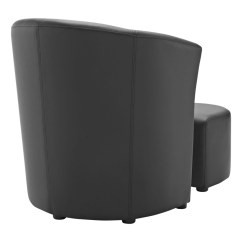 Black Chair And Ottoman Shower With Arms Backrest Sequence Set Modern Furniture