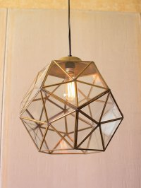 Gold Glass Geometric Large Pendant Light