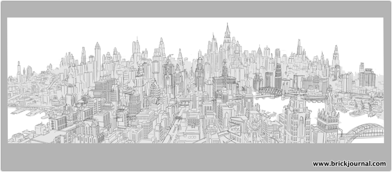 A preliminary render of Gotham City.