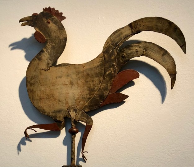 Rooster weathervane in exhibition at the American Folk Art Museum