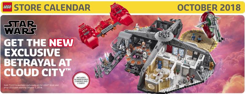LEGO Store October 2018 Calendar Now Up