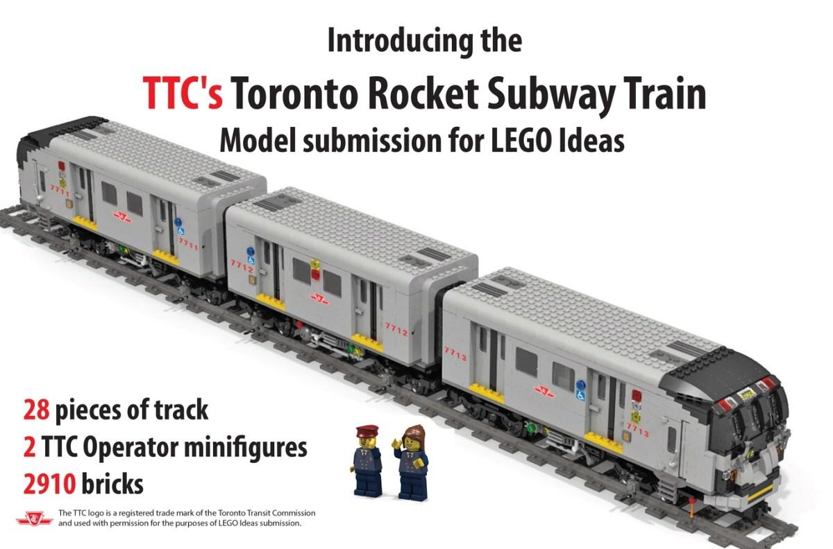 Toronto Transit Commission Employee Submits Toronto Rocket Subway Train for LEGO Ideas Support