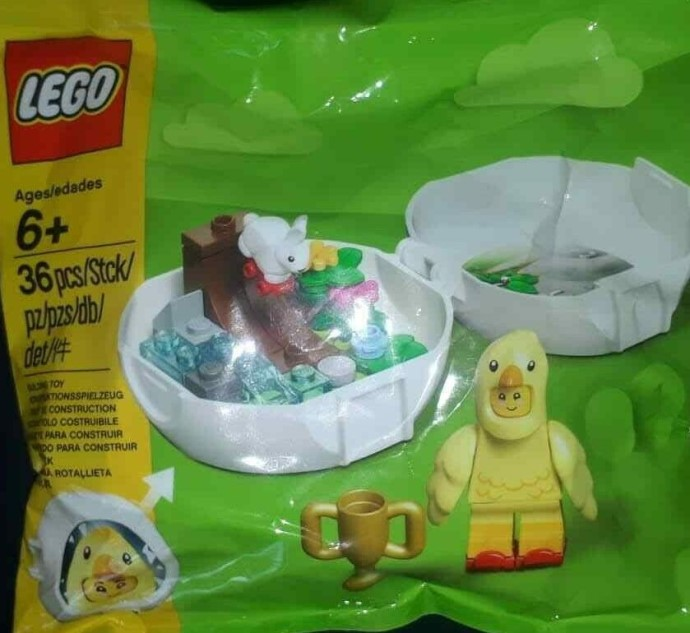 "Easter LEGO Seasonal Minifigure Switches from ""Hut"" Box to Pod with Seasonal Easter Chicken Pod (853958)"
