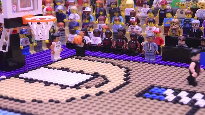 "LEGO Stop-Motion Animator Jared ""Gold Yeller"" Remakes 2018 Buzzer-Beater of Michigan's Jordan Poole in Bricks and Minifigs"