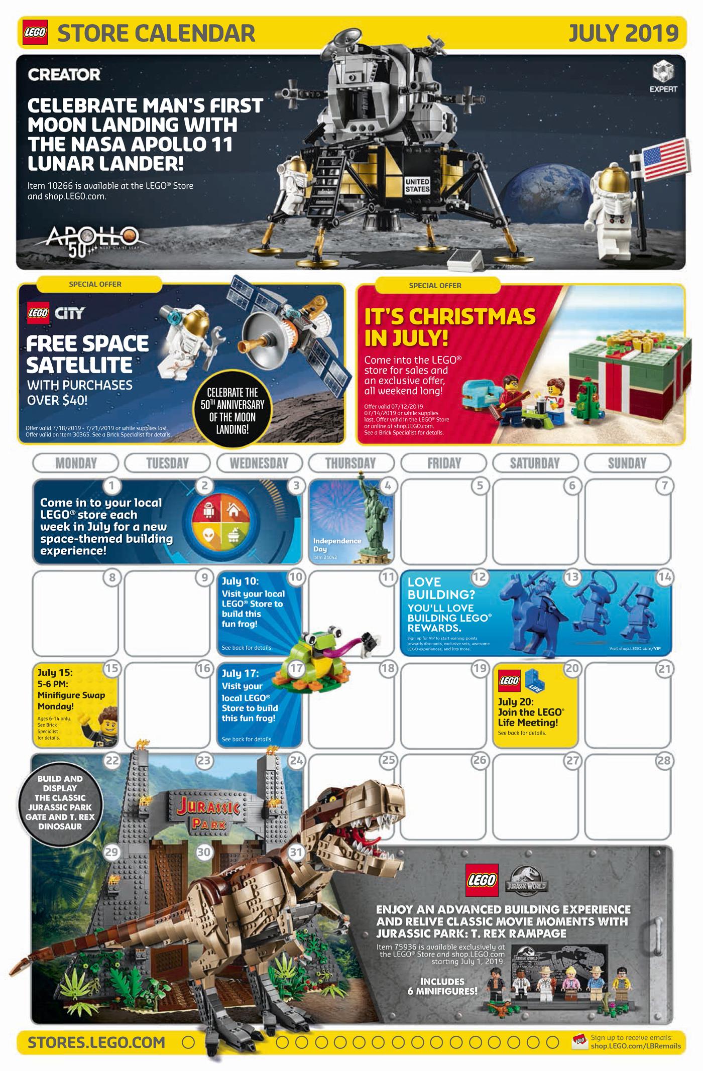 Lego June 2021 Calendar July 2019 LEGO Store Calendar Highlights and Promotions