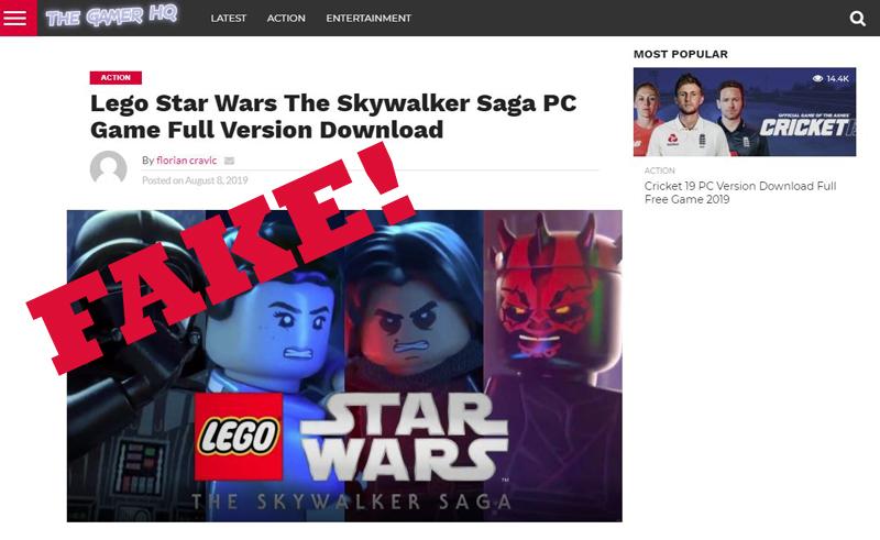Avoid This LEGO Star Wars Skywalker Saga Fake Download