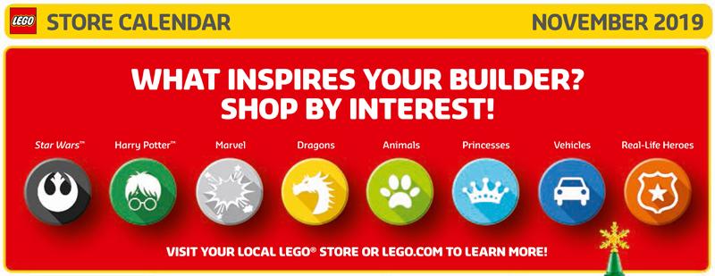 November 2019 LEGO Store Calendar Promos and Highlights