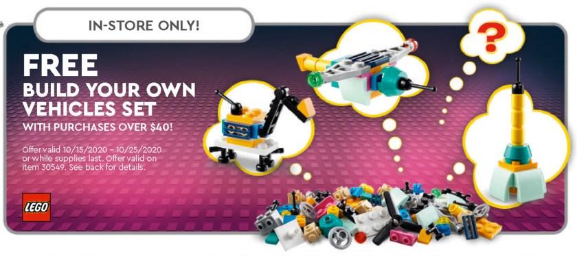 October 2020 LEGO Store Calendar