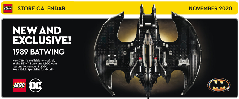 November 2020 LEGO Store Calendar Features the LEGO 1989 Batwing