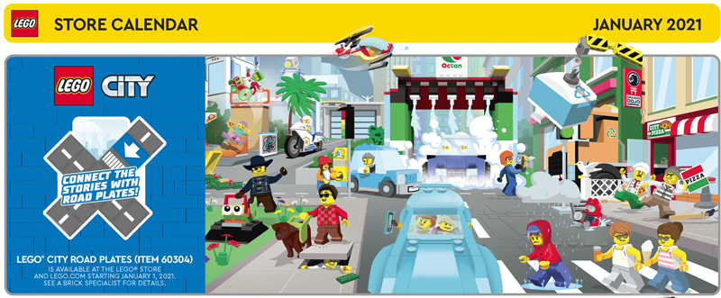 The January 2021 LEGO Store Calendar Highlights This Year's First Freebies