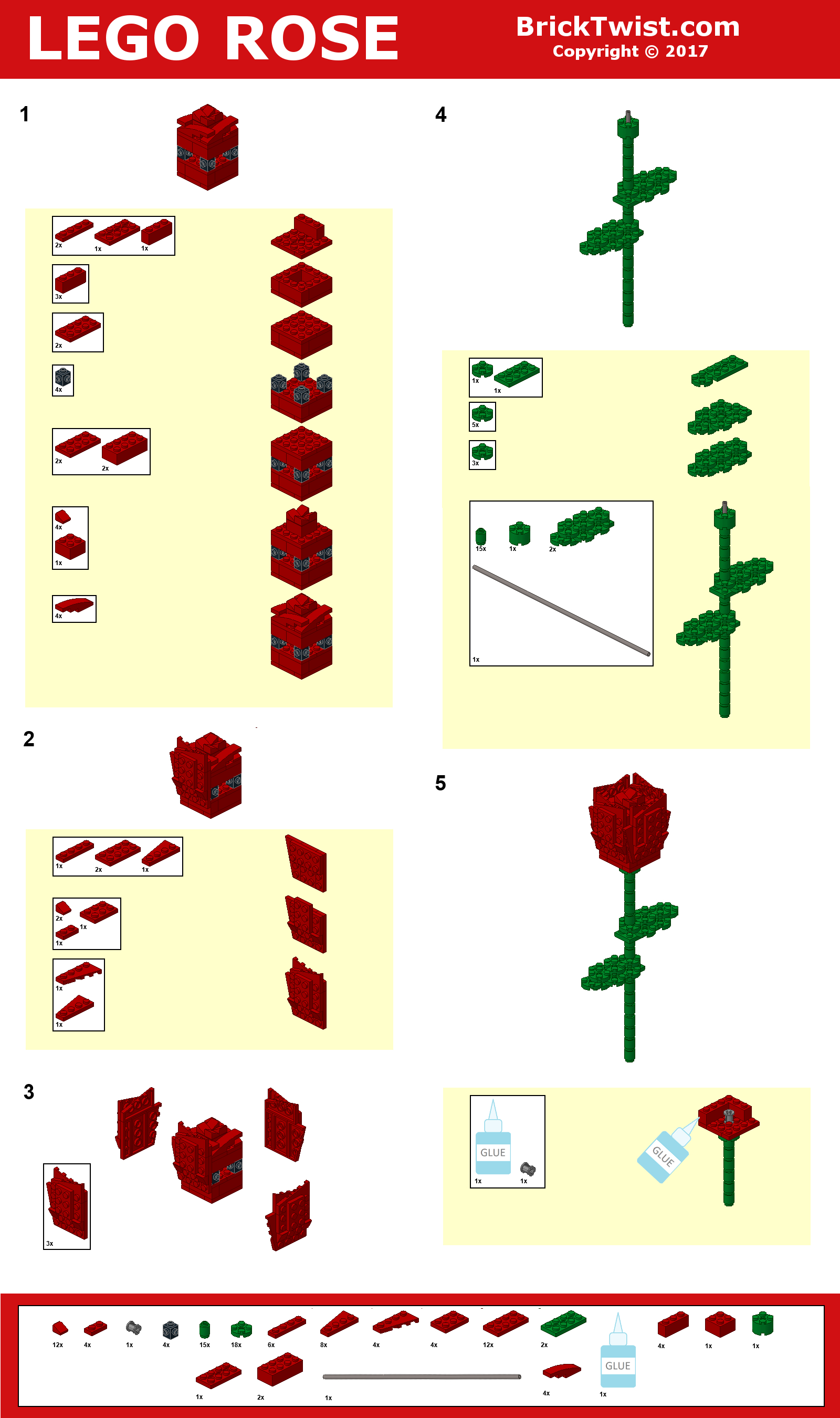 How To Build A Lego Rose Brick Twist