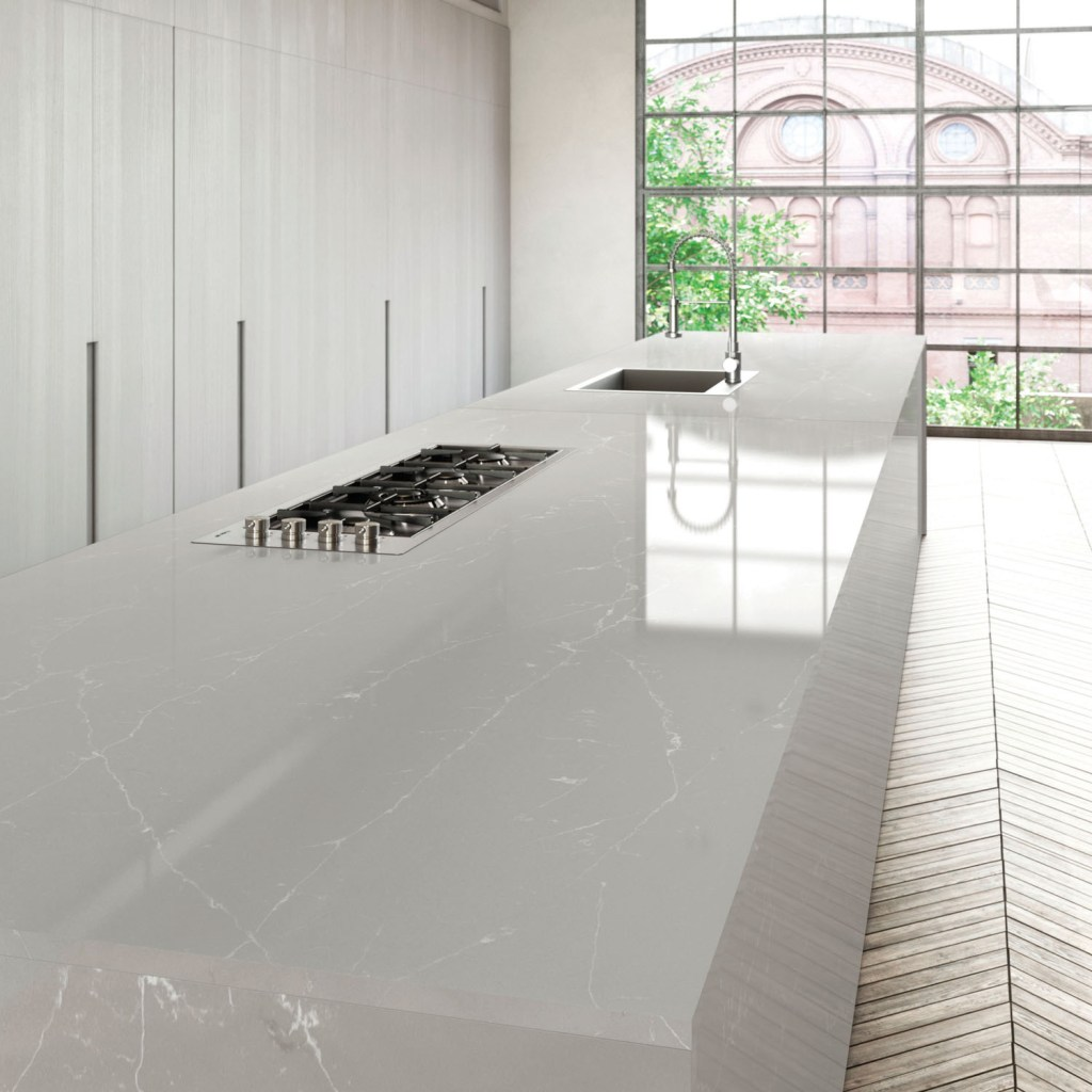Unique Argento™, is part of the Unique Collection from COMPAC - a stunning range of quartz worksurfaces featuring designs inspired by the textures, beauty and durability of nature's rivers, forests, lakes and mountains.