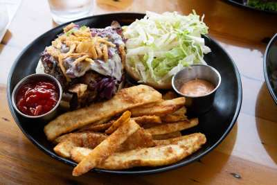 Craft burger and fries at Brickyard Hollow Brew pub in Yarmouth Maine