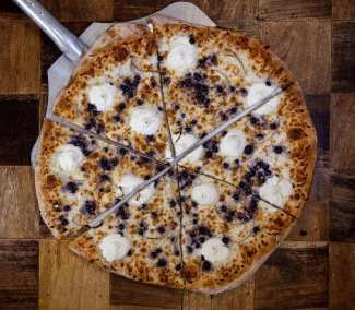Blueberry brick oven pizza from Brickyard Hollow in Yarmouth and Freeport Maine