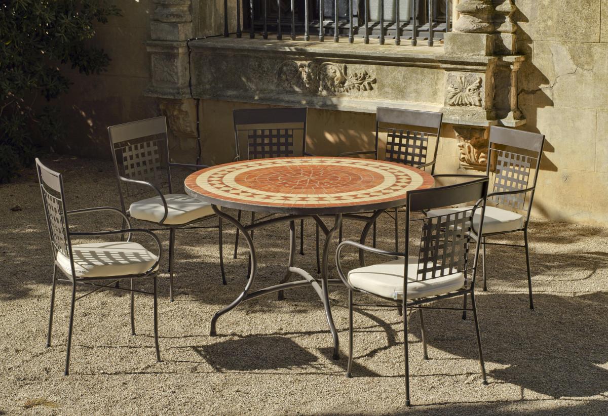 Table De Jardin En Mosaique Avec Chaises | Table De Jardin Mosaique ...