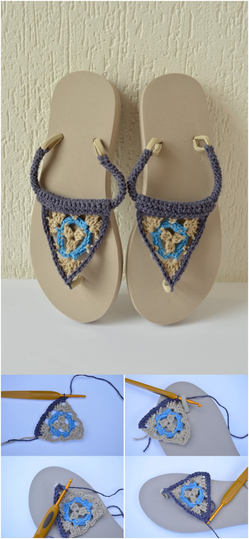 personalizar las chanclas con crochet