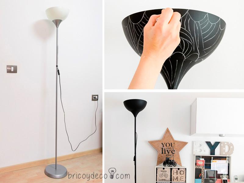 antes y después de pintar una lámpara con pintura pizarra