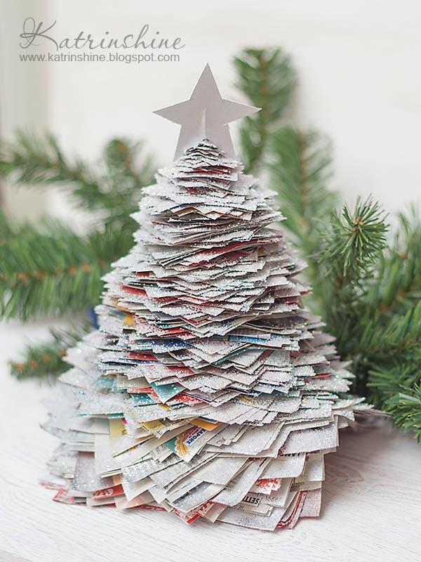 decorar en Navidad con papel de periódico