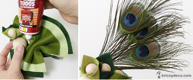 añadir plumas a un tocado de fieltro