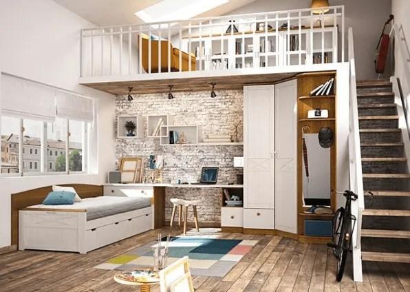 Ideas para decorar una habitación juvenil 2020 doble altura con escalera