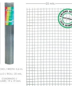 Malla Electrosoldada Galvanizada 19x19 / 60 cm. rollo 25 Metros Uso Domestico