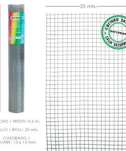 Malla Electrosoldada Galvanizada 13x13 / Altura 60 cm. Rollo 25 Metros. Uso Domestico