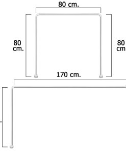 Barra Para  Cortina Ducha Universal Aluminio Blanco 80 x 170 cm.