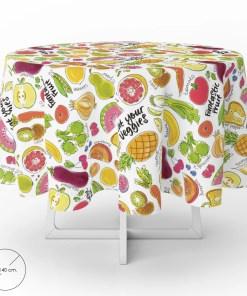 Mantel Hule Redondo Frutas Fantasia Impermeable Antimanchas PVC Ø 140 cm. Uso Interior y Exterior
