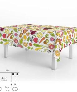 Mantel Hule Rectangular Frutas Fantasia Impermeable Antimanchas PVC 140x250 cm.  Recortable Uso Interior y Exterior