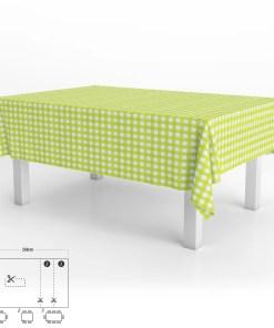 Mantel Hule Rectangular Cuadros Lima Impermeable Antimanchas PVC 140x250 cm.  Recortable Uso Interior y Exterior