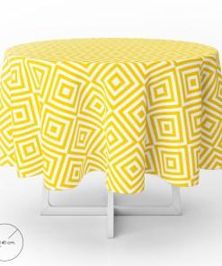 Mantel Hule Redondo Rombos Amarillos Impermeable Antimanchas PVC Ø140 cm. Uso Interior y Exterior