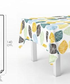 Mantel Hule Rectangular Hojas Colores. Impermeable Antimanchas PVC 140 cm. x 20 metros. Rollo Recortable. Interior y Exterior