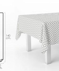 Mantel Hule Rectangular Rombos Grises. Impermeable Antimanchas PVC 140 cm. x 20 metros. Rollo Recortable. Interior y Exterior