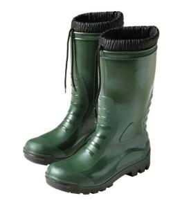 Botas goma altas verdes de invierno