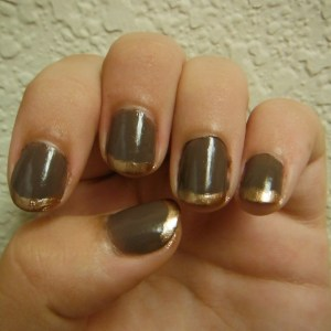 brown and gold french tip nails