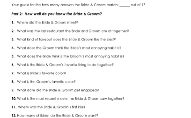 Printable Bride Groom Know Each Other Game Bridal