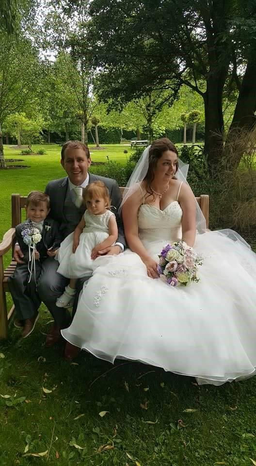 Amy wedding photo with silk bouquet