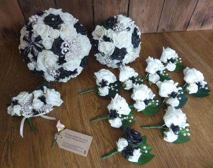 Black wedding flower set inc buttonholes